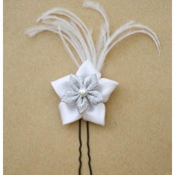 Epingle à cheveux fleur blanche argent plumes EPA340A