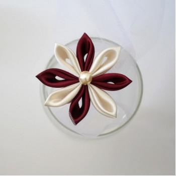 Epingle à cheveux fleur ivoire bordeaux EP2003A