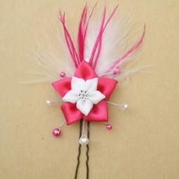 Epingle à cheveux fleur blanc et fuchsia EP342