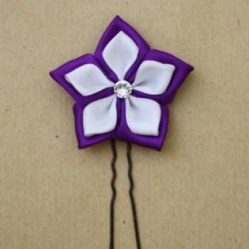 Epingle à cheveux fleur blanc violet EP343