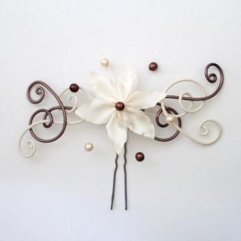 Epingle à cheveux ivoire et chocolat  + fleur EPA233