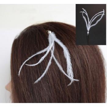 Epingle à cheveux plumes blanc EP1244A