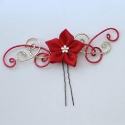 Epingle à cheveux rouge doré fleur EPA324
