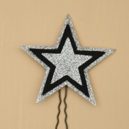 Epingle à cheveux mariage étoile noir et argent EP358