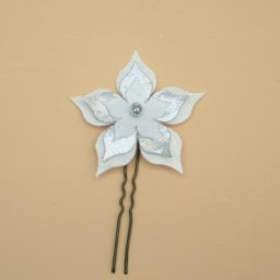 Epingle à cheveux mariage fleur blanc argent EP1270A