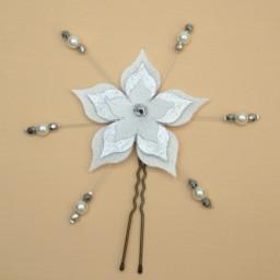 Epingle à cheveux fleur blanche et argenté EP1270B