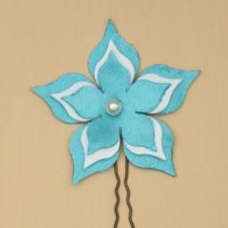 Epingle à cheveux fleur bleu turquoise et blanc EP359
