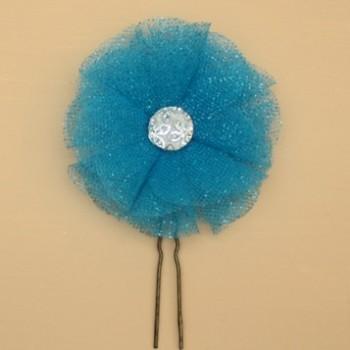 Epingle à cheveux mariage fleur tulle turquoise EP3001