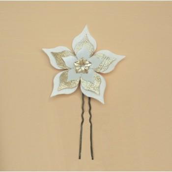 Epingle à cheveux fleur ivoire doré EP354