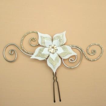 Epingle à cheveux fleur ivoire champagne doré EPA354