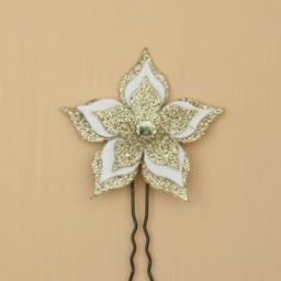 Epingle à cheveux fleur doré et blanc EP1272B