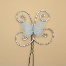 Epingle à cheveux papillon blanc paillettes argent EPA355