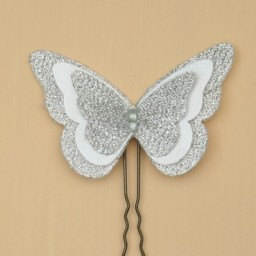 Epingle à cheveux papillon blanc argent EP1271B