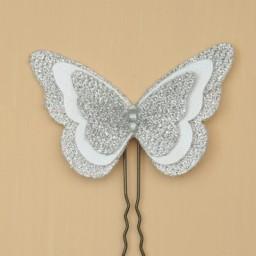 Epingle à cheveux papillon blanc argent EP1271B