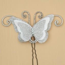 Epingle à cheveux papillon argent et blanc EPA1271A