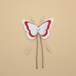 Epingle à cheveux mariage papillon blanc et rouge EP1268A