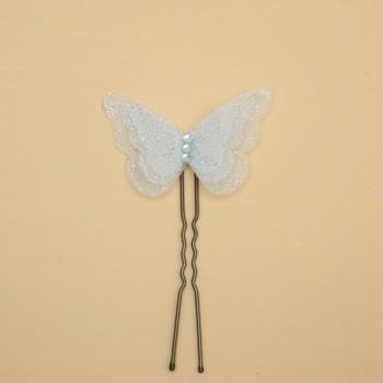 Epingle à cheveux papillon blanc pailleté EP355