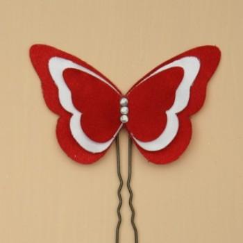 Epingle à cheveux papillon rouge et blanc EP357A
