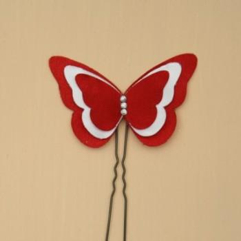 Epingle à cheveux papillon rouge et blanc EP357B