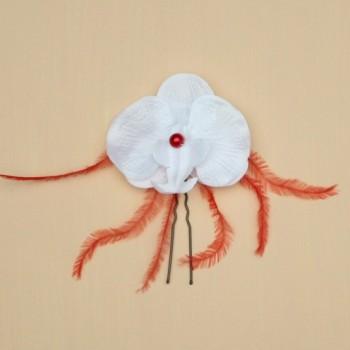 Epingle à cheveux orchidée blanc et rouge EP1278A