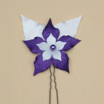 Epingle à cheveux mariage fleur blanc violet EP360A