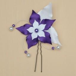 Epingle à cheveux fleur et perles blanc et violet EP360B