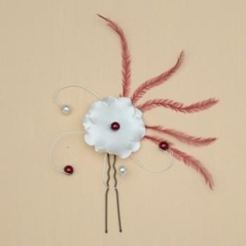 Epingle à cheveux fleur et plumes bordeaux ivoire clairEP4291C