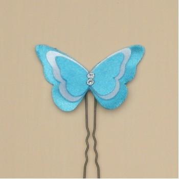 Epingle à cheveux papillon satin turquoise et blanc EP361B