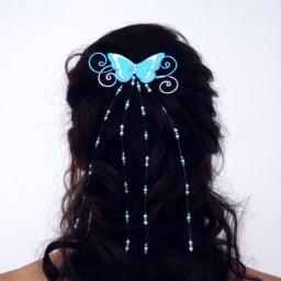 Epingle à cheveux papillon argent turquoise blanc EPA361