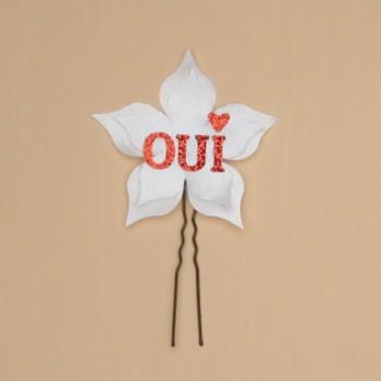 Epingle à cheveux OUI fleur blanc rouge EP362