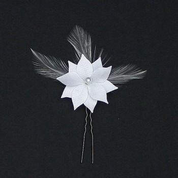 Epingle à cheveux fleur et plumes blanches EP1281A