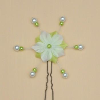 Epingle à cheveux mariage fleur blanc et vert anis EP1277A