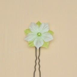 Epingle à cheveux mariage fleur blanc et vert anis EP1277B
