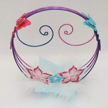 Porte alliances fleurs papillons rose et bleu PO1001