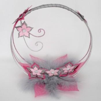Porte alliances fleurs rose gris PO1003