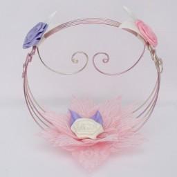 Porte alliances fleurs rose parme ivoire dentelle PO1006