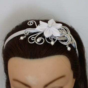 Serre tête mariage fleur blanc et argent ST348