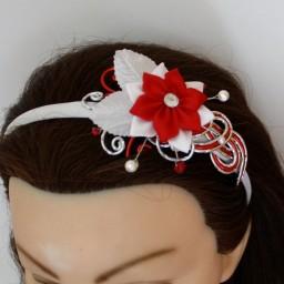 Serre-tête mariage rouge blanc argent fleur STA349