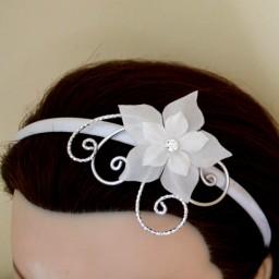 Serre-tête mariage blanc et argent + fleur STA353