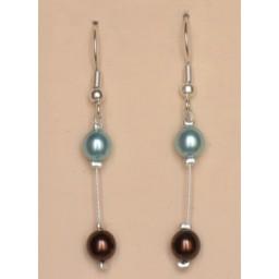 Boucles d oreilles chocolat turquoise BO1169B