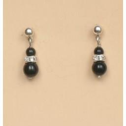 Boucles d oreilles noir strass BO1192A