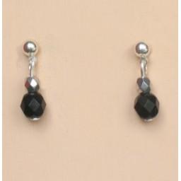 Boucle d oreilles noir et argent BO1200A