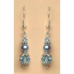 Boucles d oreilles bleu cristal argent BO4264A