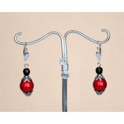 Boucles d oreilles rouge noir argent BO1228A