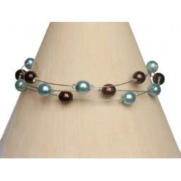 Bracelet perles chocolat et turquoise BR1169A