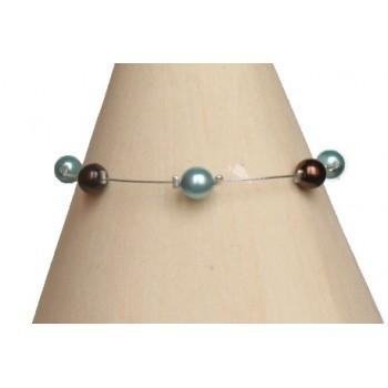 Bracelet perles chocolat et turquoise BR1169B