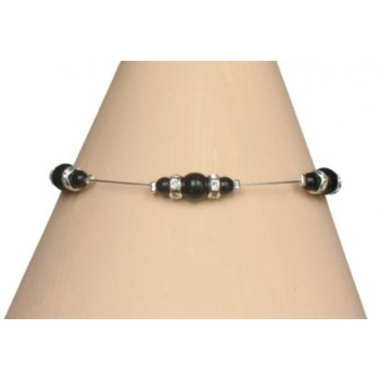 Bracelet noir et strass BR1192A