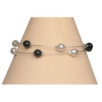 Bracelet perles blanc et noir BR1195A