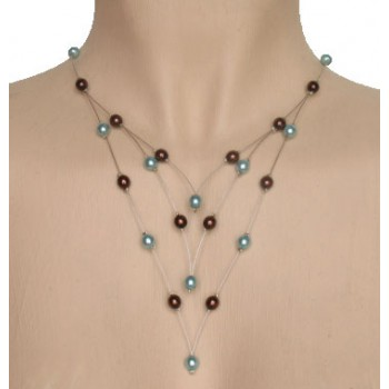 Collier fantaisie chocolat turquoise CO1169A
