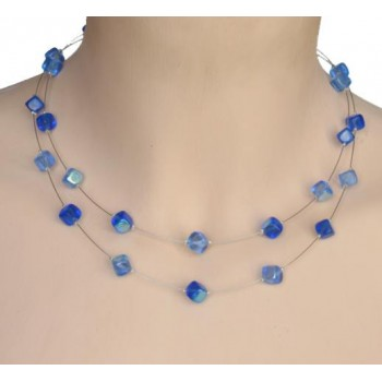Collier fantaisie bleu CO1175A